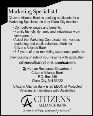 Marketing Specialist I