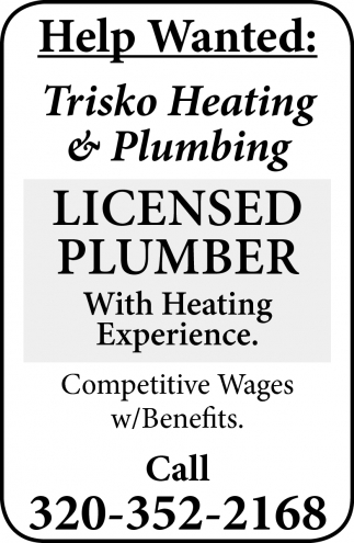 help wanted, trisko heating and plumbing, west des moines, ia
