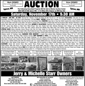 Auction Saturday, November 17th