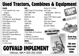 Used Tractors, Combines & Equipment