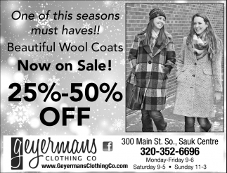 Beautiful Wool Coats Now on Sale!