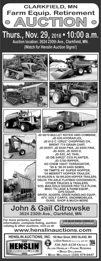 Farm Equip. Retirement Auction