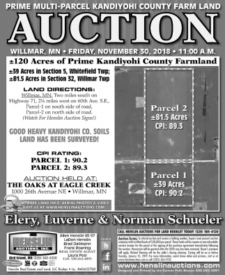 Prime Multi-Parcel Kandiyohi Count Farm Land Auction