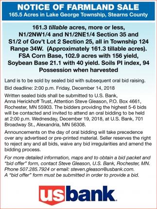 Notice of Farmland Sale
