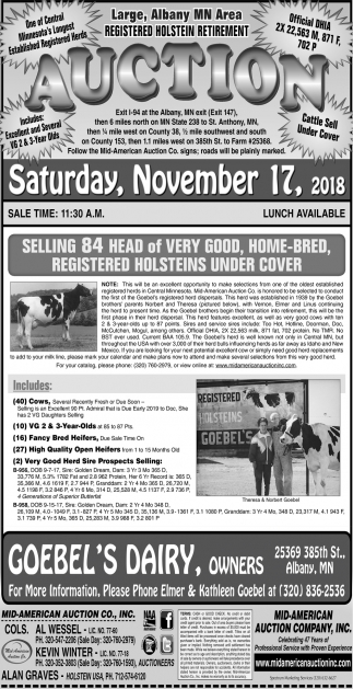 Registered Holstein Retirement Auction