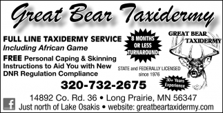 Full Line Taxidermy Service