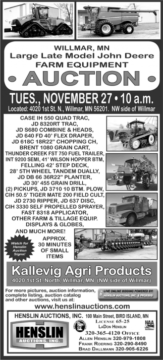 Large Late Model John Deere Farm Equipment Auction