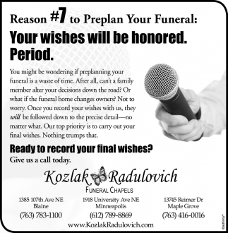Reason #7 to Preplan Your Funeral