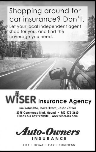 Shopping Around For Car Insurance Wiser Insurance Mound Mn