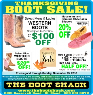 Thanksgiving Boot Sale!