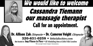 We Would Like to Welcome Cassandra Tiemann, Our Massage Therapist