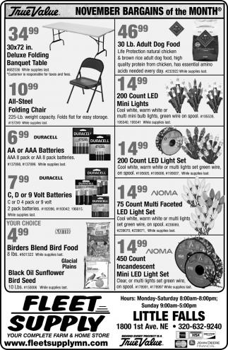 November Bargains for the Month