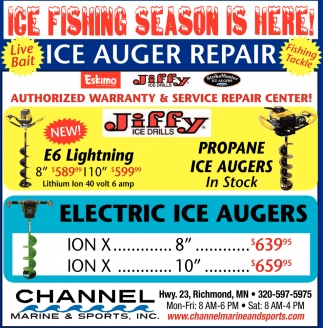Ice Fishing Season is Here!, Channel Marine And Sport, Richmond, MN