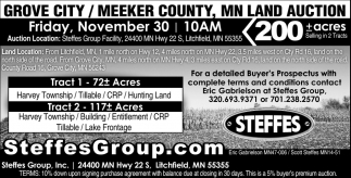 Grove City/Meeker County, MN Land Auction