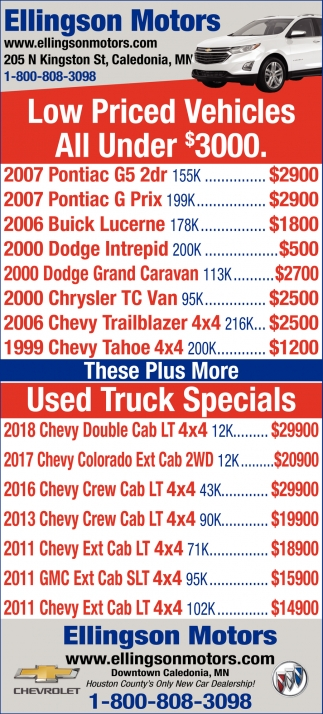 Low Priced Vehicles All Under $3000