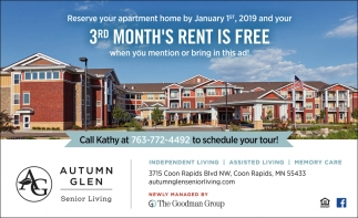 Reserve Your Apartment Home by January 1st, 2019 and Your 3rd Month's Rent is FREE