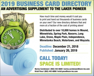 2019 Business Card Directory an Advertising Supplement to the Laker Pioneer