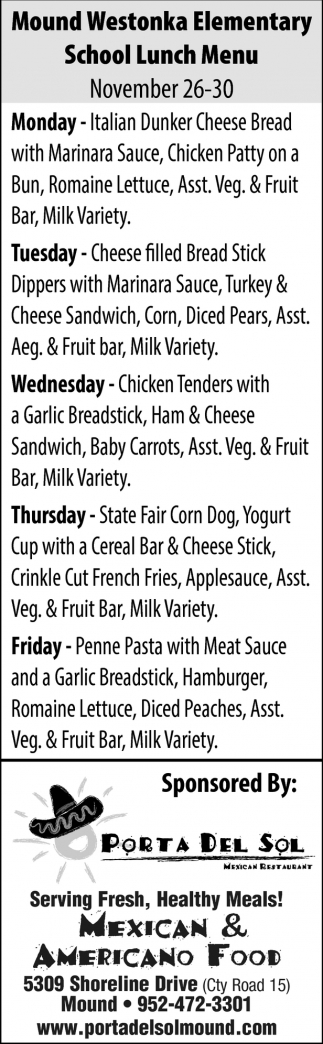 Mound Westonka Elementary Lunch Menu