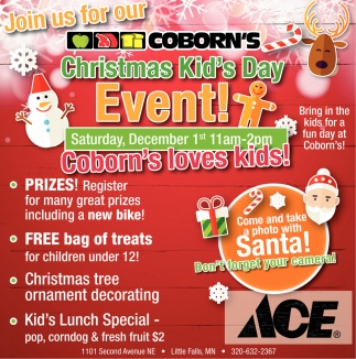 Join us for Our Coborn's Christmas Kid's Day Event!