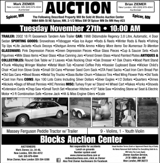 Auction Tuesday November 27th