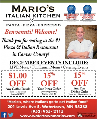 Thank You for Voting Us the #1 Pizza & Italian Restaurant in Carver County!