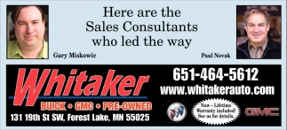 Here are the Sales Consultants who Led the Way
