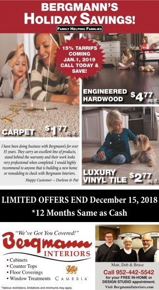 Bergmann's Holiday Savings!