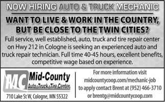 Now Hiring Auto & Truck Mechanic