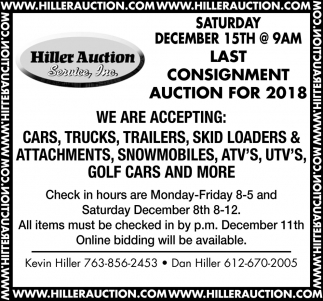 Last Consignment Auction for 2018