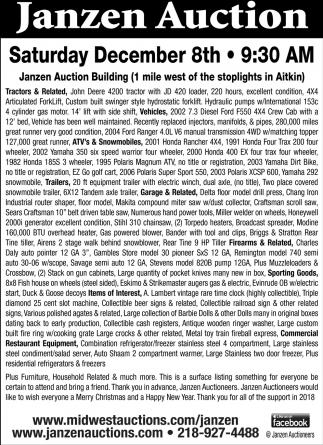 Janzen Auction Saturday December 8th