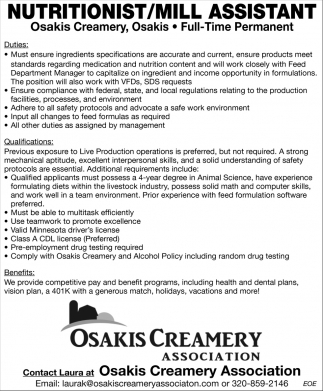 Nutritionist/Mill Assistant