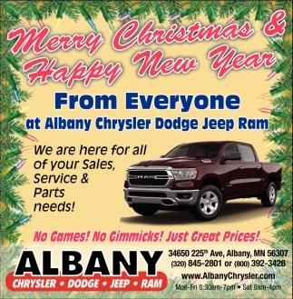 Merry Christmas Happy New Year Albany Chrysler Center Inc Albany Mn