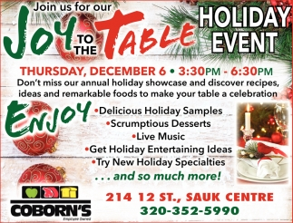 Join us for Our Joy to the Table Holiday Event