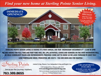 Find Your New Home at Sterling Pointe Senior Living