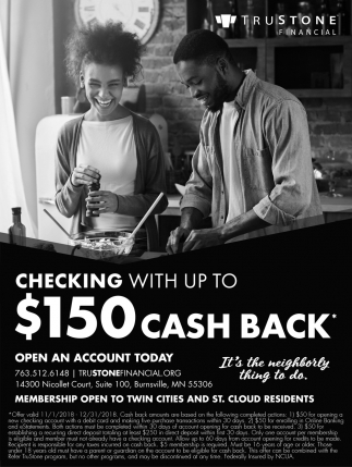 Checking with Up to $150 Cash Back