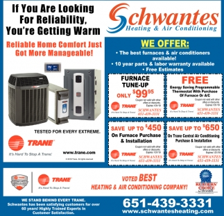The Best Furnaces Air Conditioners Available Schwantes Heating Conditioning Stillwater Mn