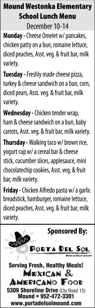 Mound Westonka Elementary School Lunch Menu