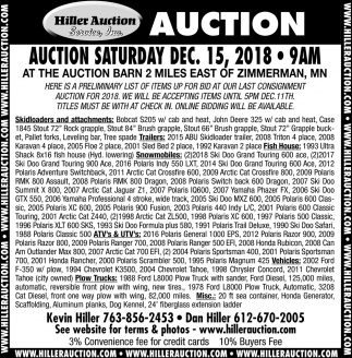 Auction Saturday Dec. 15, 2018
