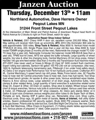Janzen Auction Saturday Thursday, December 13th