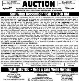 Auction Saturday December 15th
