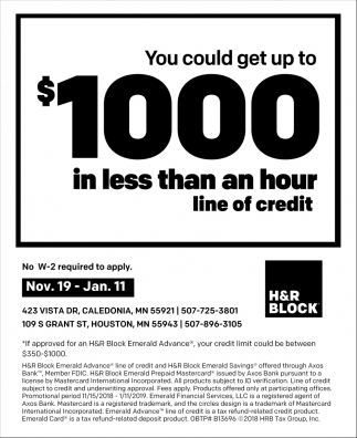 You Could Get up to $1000 in Less than an Hour Line of Credit