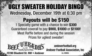 Ugly Sweater Holiday Bingo