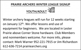 Winter League Signup Youth/Adult