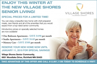 Enjoy this Winter at the New Village Shores Senior Living