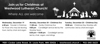 Join us for Christmas at Westwood Lutheran Church!