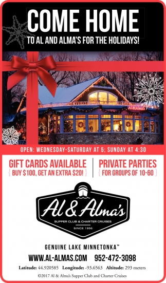 Come to Al and Alma's for the Holidays!