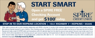 Open a Spire FREE Checking Account and Get $100* Today