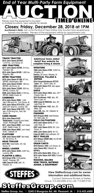 End of Year Multi-Party Farm Equipment Auction