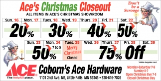 Ace's Christmas Closeout