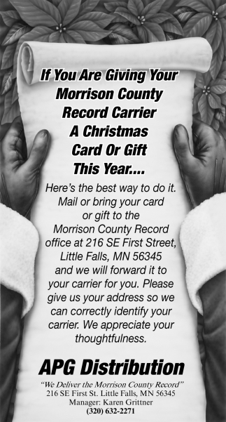 If You are giving Your Morrison County Record Carrier a Christmas Card or Gift this Year... Here's the Best Way to do it